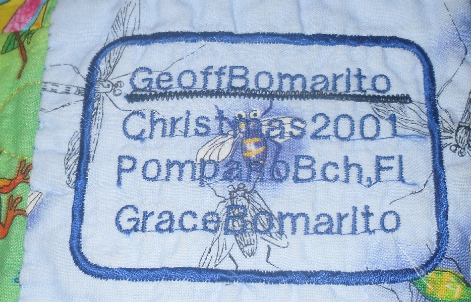 Geoff's Quilt label, rectangular